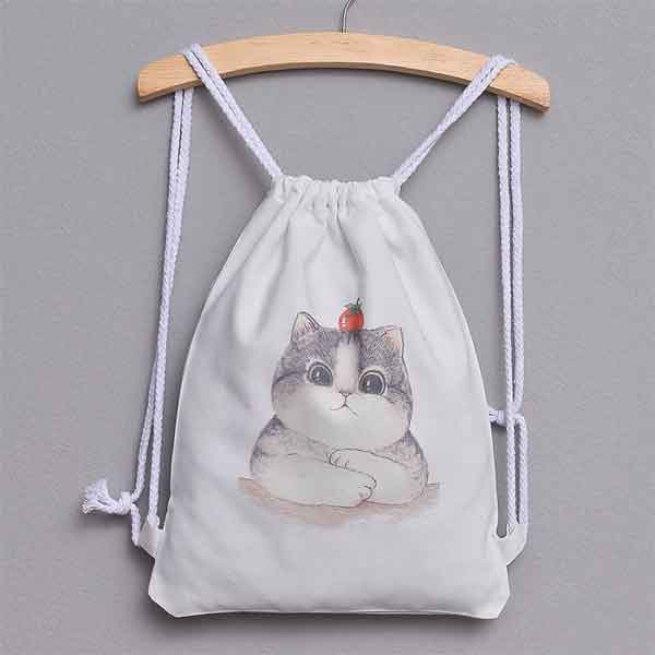 Balo dây rút unisex hình con mèo